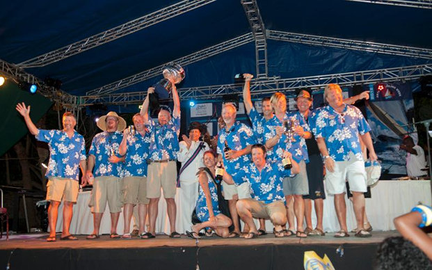 El Ocaso crew receiving the Lord Nelson Trophy from Governor General--Louise Agnetha Lake-Tack Photo by Ted Martin/photofantasyantigua