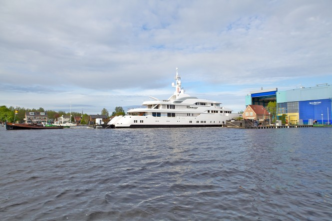 Feadship custom made motor yacht Hampshire II leaves the construction shed