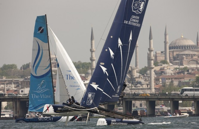 Groupe Edmond de Rothschild on an upwind leg in Istanbul 2011 Credit: Lloyd Images