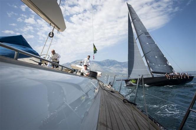 JETHOU yacht crosses in front of NILAYA superyacht during windward-leeward race Photo RolexKurt arrigo
