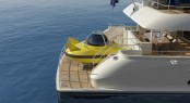 Launch of the three-seater yellow submarine aboard the Sofia superyacht Step 1