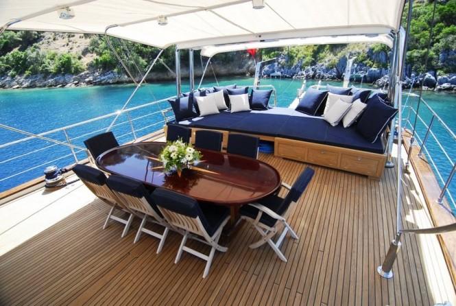 Luxury gulet SEA COMET -  Aft Deck Dining