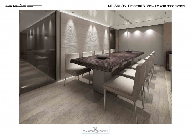 Luxury yacht CANADOS 120 Dining in grey wood