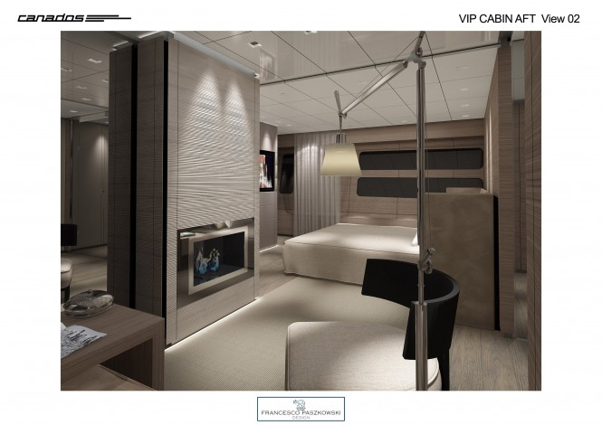 Motor yacht Canados 120 VIP Cabin Aft View