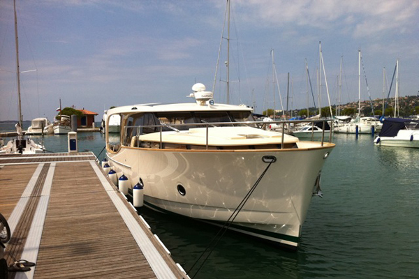 Motor yacht Greenline 40 Hybrid on display during the show
