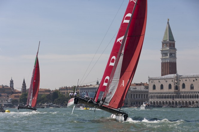 Luna Rossa team training in San Marco Channel in Venice