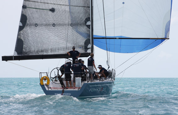 The 40-footers in IRC One class are racing tooth and nail. On Day 3, Foxy Lady 6 leads the standings by a single point with just two days to go. Photo by MarineScene.asia.