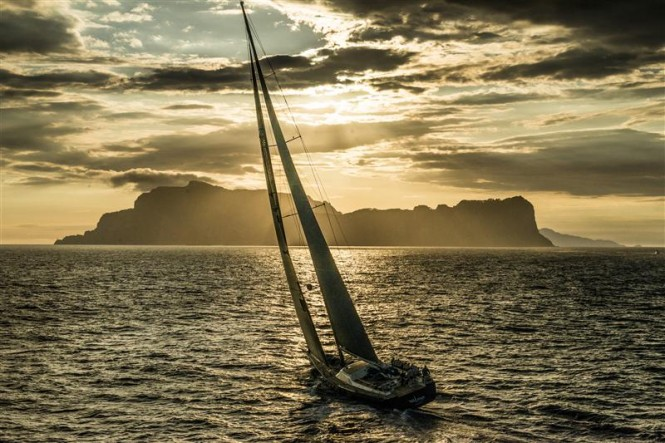Sailing yacht Nilaya with Capri in the background Photo by RolexKurt Arrigo