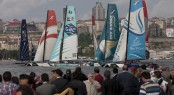 spectators watch the racing on the final day of Act 3 of the Extreme Sailing Series 2011 in Istanbul Credit: Lloyd Images