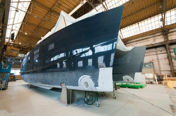 Sunreef Catamaran under construction at the shipyard
