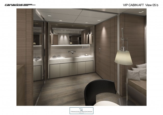 Superyacht Canados 120 VIP Cabin Aft View basin