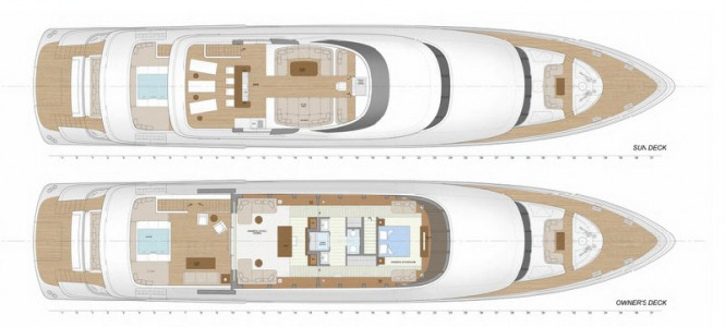 The 42m Jongert luxury yacht layout of sun deck and owner´s deck