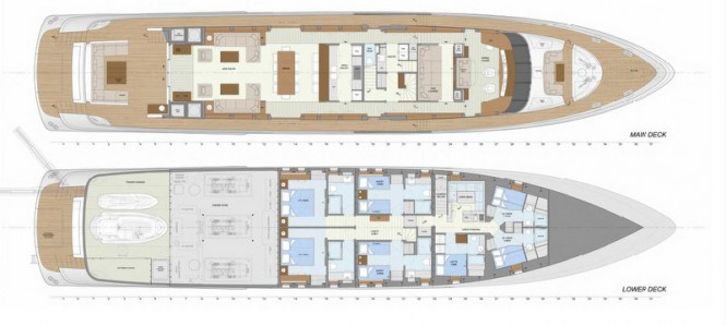 The 42m Jongert motor yacht layout of her main and lower decks