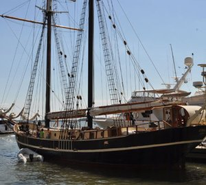 118ft classic sailing yacht Unicorn visited Dennis Conner's North Cove
