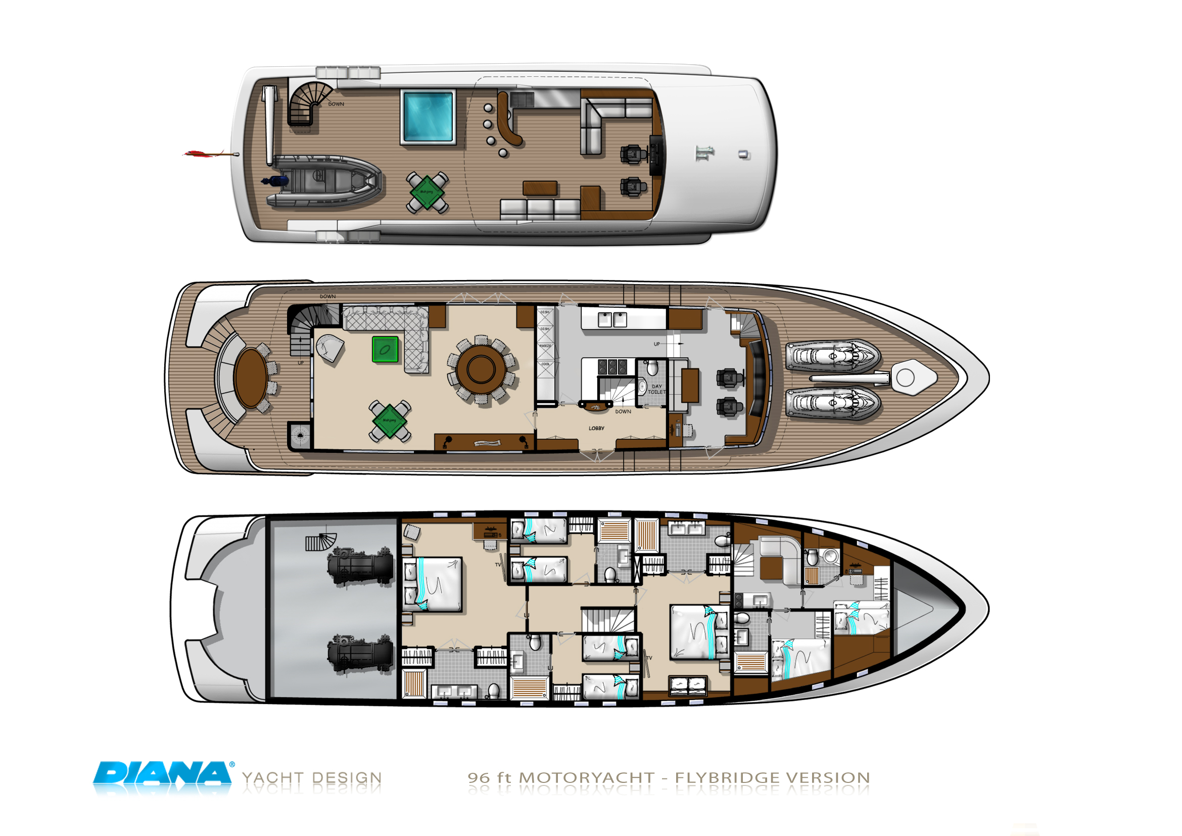 28m Motor Yacht Diana Blu Flybridge Deck Layout on Mega Luxury Yachts Floor Plans