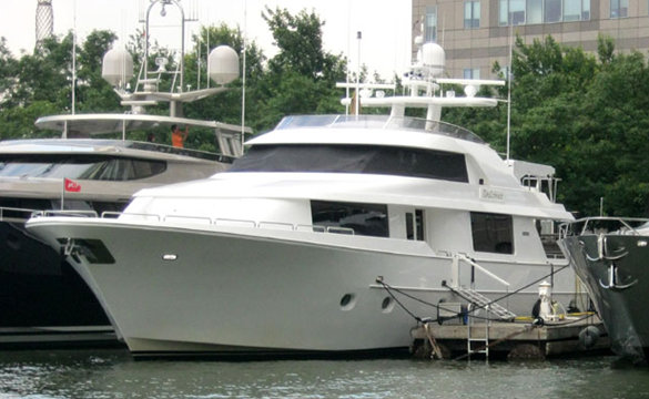 32m motor yacht Dulcinea docked in the superyacht marina Dennis Conners North Cove
