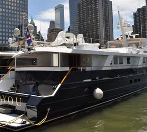 38m motor yacht Bayou and 32m superyacht Dulcinea at Dennis Conner's North Cove
