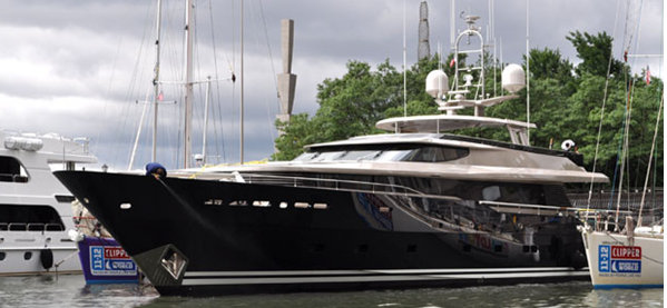 40m Alloy superyacht TATS (ex Loretta Anne IV, Allogante) anchored at Dennis Conner's North Cove in NYC
