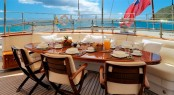 Al-fresco dining aboard charter yacht Drumbeat (ex Salperton)