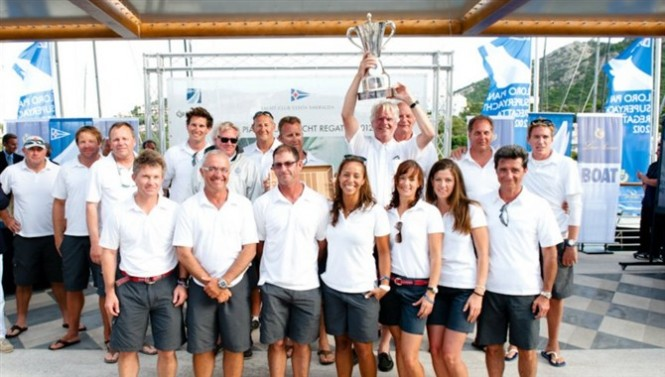 Crew of the Ganesha superyacht with the Silver Jubilee Cup