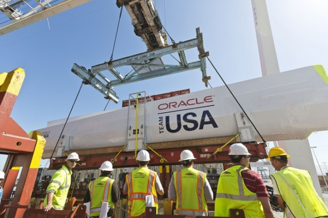 Delivery of wingsail and crossbeams for ORACLE TEAM USA AC72 yacht