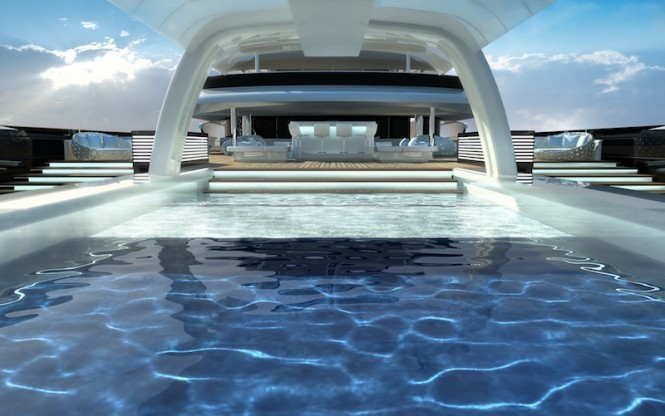 Exterior  spaces of the 120m mega yacht Explore 120 by Newcruise