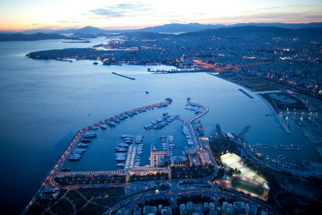 Flisvos Marina after sunset - view from above