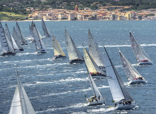 Group A at the start of the offshore race, with St Tropez in the background Credit RolexKurt Arrigo