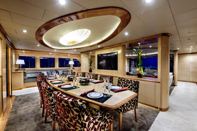Incat Crowther designed superyacht Zenith Dining