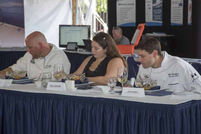 Judges of the Grande Class (from left to right): Chef Matt Preble of the Smokehouse, ShowBoats International Managing Editor Danielle Aragon Cabrera and Chef Bob Bankert of Mooring Seafood Kitchen and Bar. Photo Credit: Billy Black
