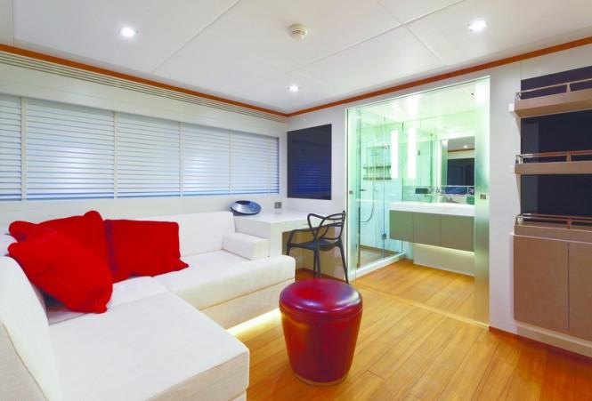 Luxurious interior aboard Diamond superyacht