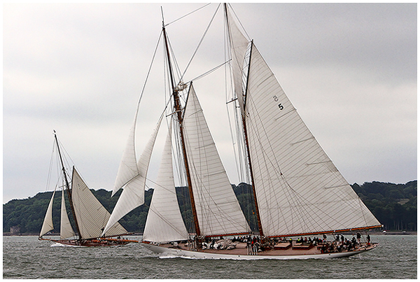 Luxury yacht Eleonora and Mariquita superyacht racing today at the Westward Cup in Cowes.  Credit Chris Boynton
