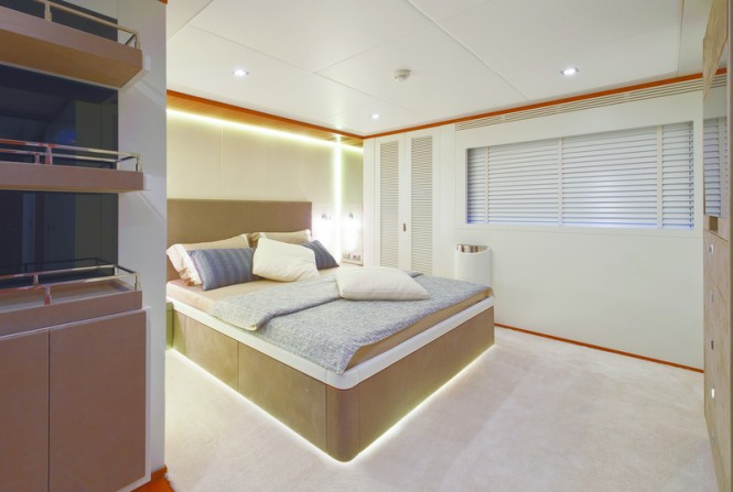 One of the cabins aboard superyacht Diamond