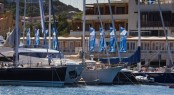 Part of the Loro Piana fleet in front of the YCCS Clubhouse Photo by Carlo Borlenghi