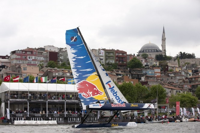 Red Bull Extreme Sailing showing off in front of the VIP tent in the race village in Istanbul 2011 Credit: Lloyd Images