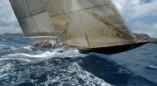 Sailing yacht Velsheda currently taking the first position - Photo by Marc Heupers