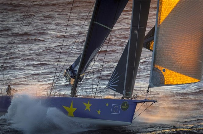 Superyacht Esimit Europa 2 leads the fleet during the offshore race Credit RolexKurt Arrigo