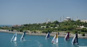The fleet race down the Bosphorus on day 3 in Istanbul with GAC Pindar leading