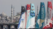 The fleet racing in Istanbul in front of the historic skyline Credit: Lloyd Images