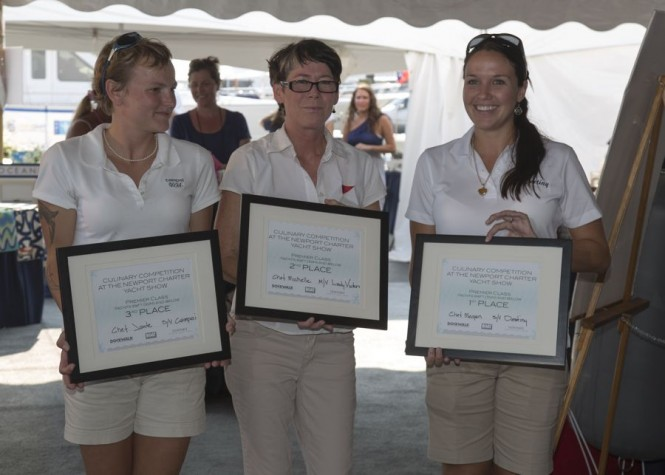 Winners in the Premier Class (from left to right): Chef Jade from the 72-foot sail vessel Campai, Chef Michelle from the 88-foot motor vessel Lady Victoria and Chef Megan from the 70-foot sailing yacht Destiny. Photo Credit: Billy Black