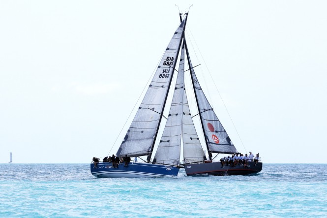 Foxy Lady 6 (left) and EFG Bank Mandrake (right) take their battle into the last day of racing at the 2012 Samui Regatta. Photo by SamuiPics.com.