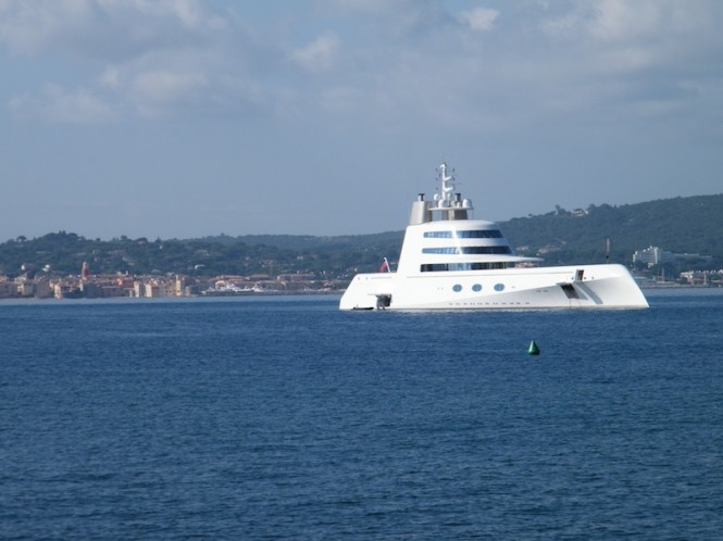 119 m mega yacht A by Blohm Voss - Photo David Z Hart