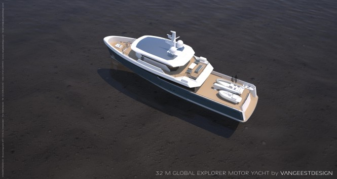 32M motor yacht Global Explorer - view from above