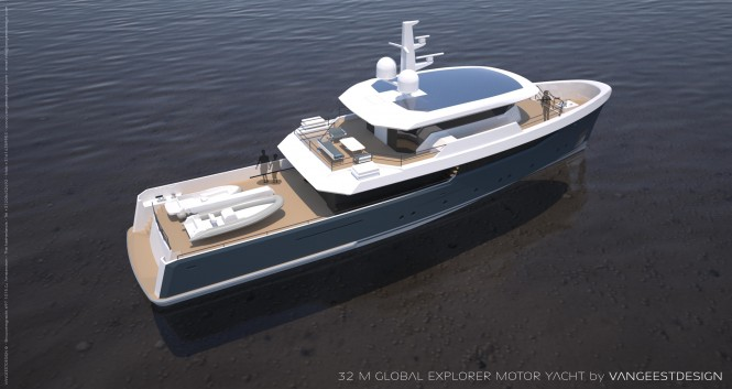 32M superyacht Global Explorer - rear view