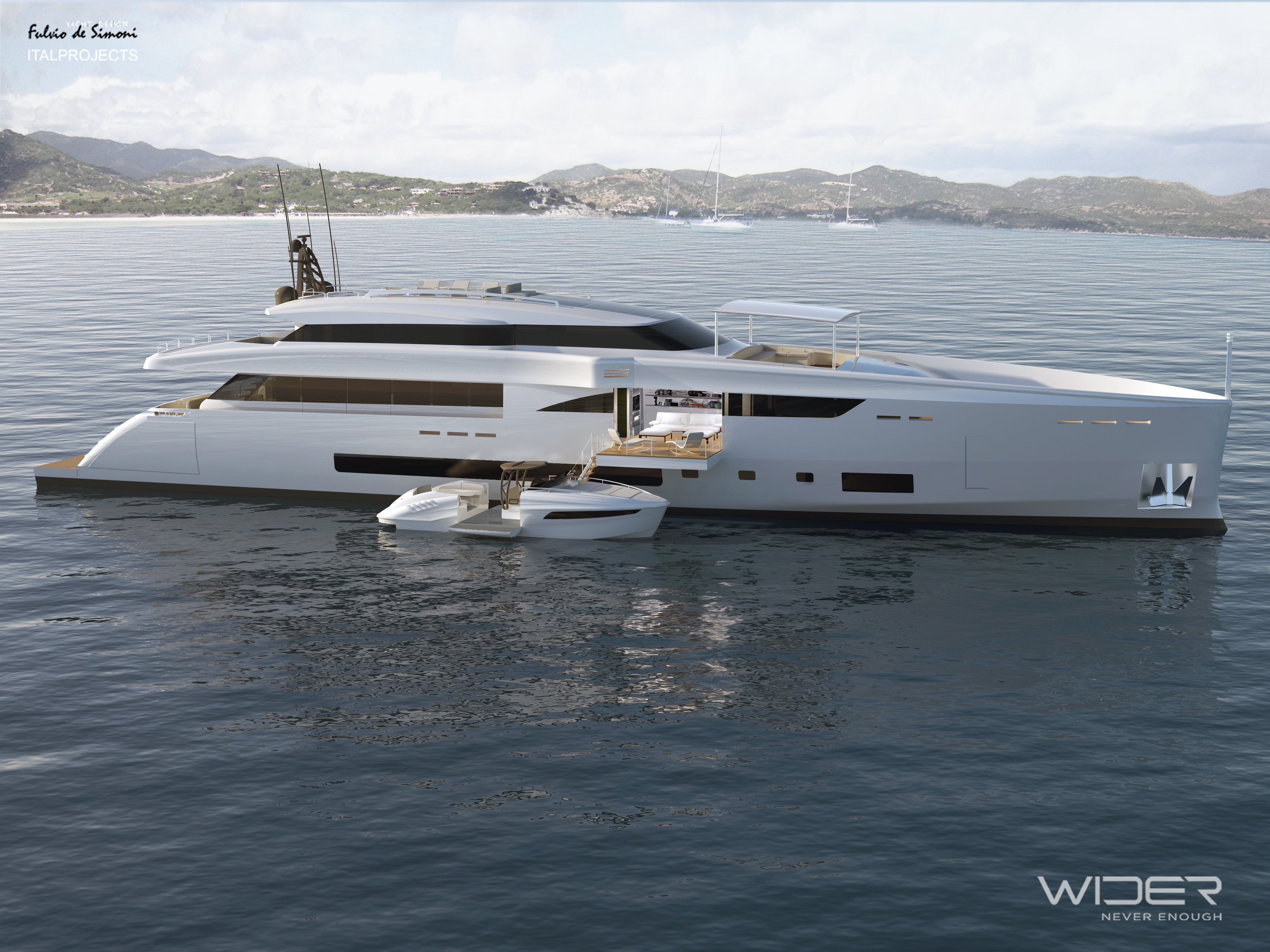 45m luxury motor yacht Wider 150 with a 33' Wider yacht ...