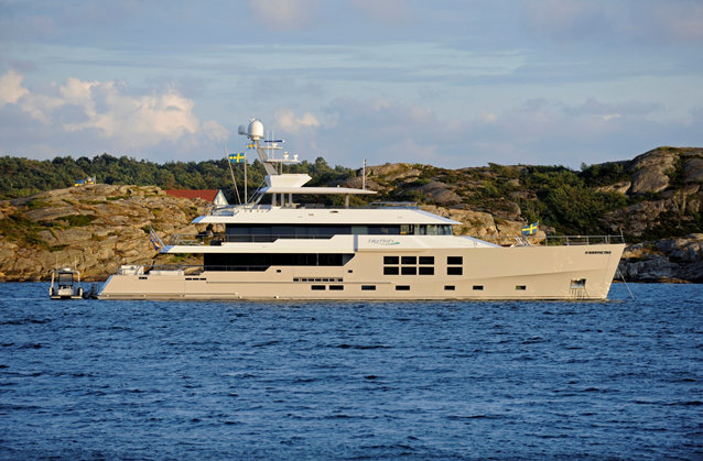 45m luxury yacht Big Fish in Manstrand area and cruising 20 miles to the north on the west coast of Sweden - July 2011 - Photo by Rick Tomlinson