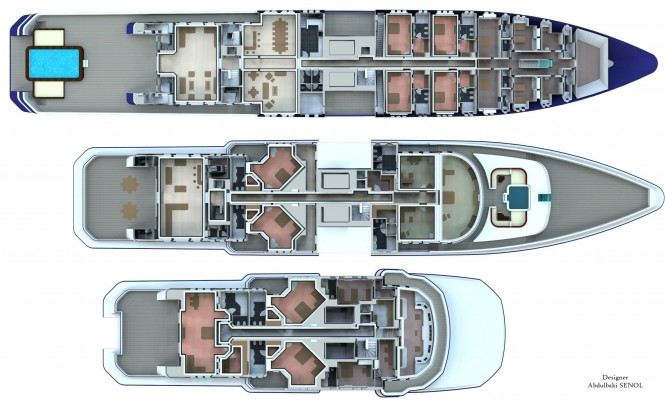 90m senol mega yacht concept luxury yacht charter for Mega homes floor plans