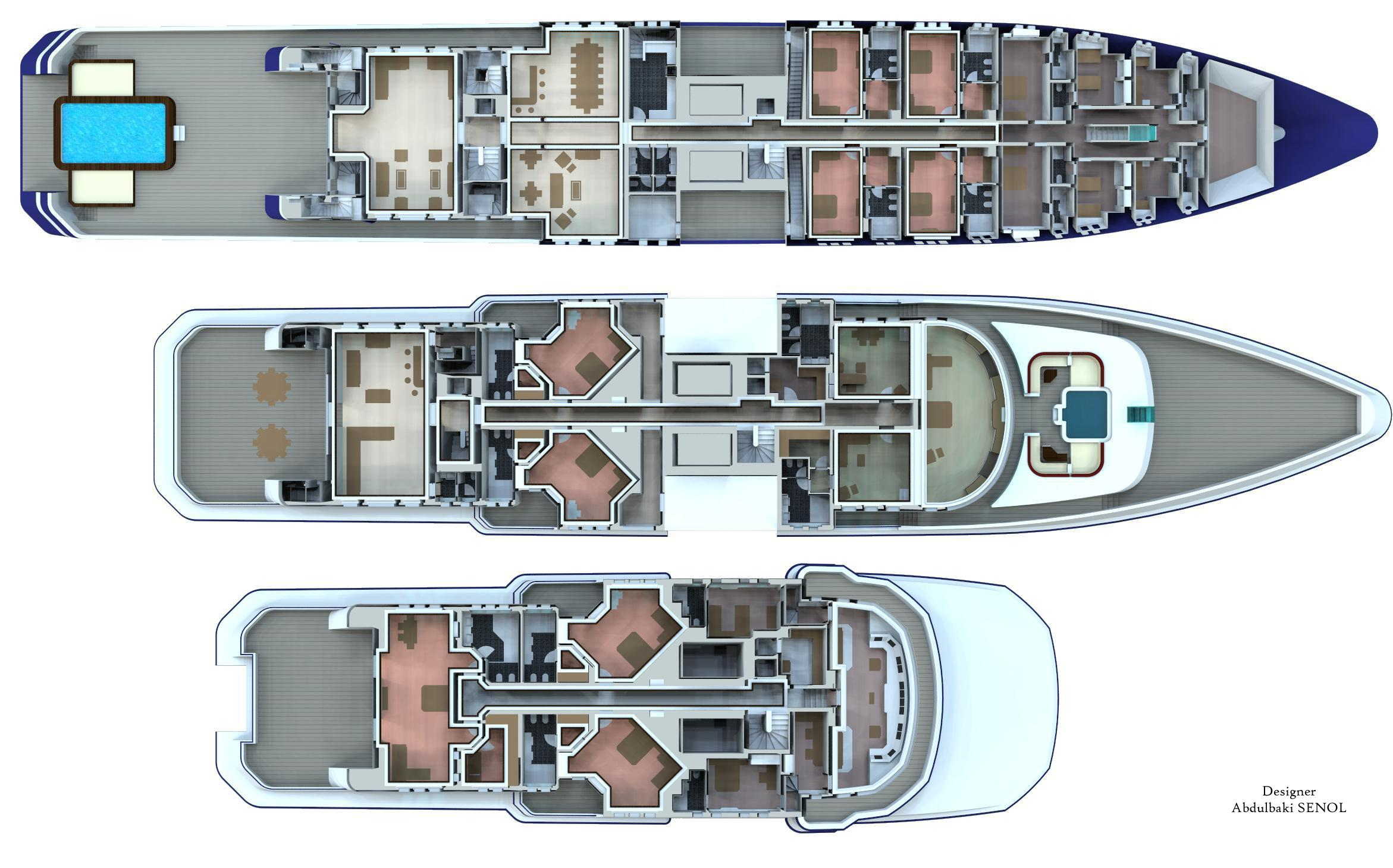 90m senol mega yacht concept deck plan yacht charter for The world deck plans