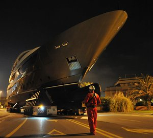 Night transportation of the 46m Sanlorenzo motor yacht ACHILLES for her launch