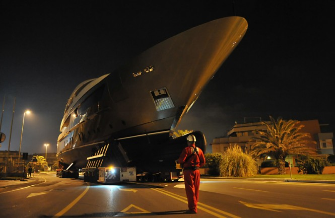 Achilles superyacht being transported across the city of Massa-Carrara